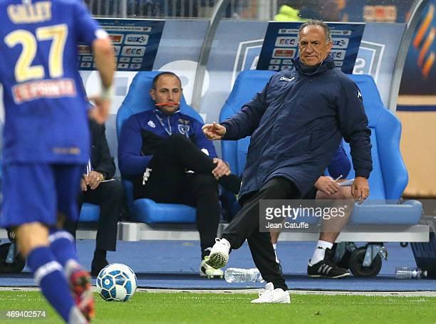 Coach of Bastia Ghislain Printant kicks the ball during the French League Cup final between Paris SaintGermain FC and Sporting Club de Bastia at...