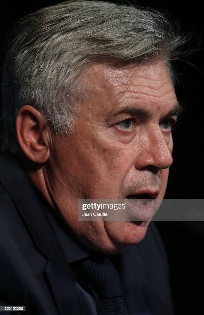 Coach of Bayern Munich Carlo Ancelotti answers to the media following the UEFA Champions League group B match between Paris Saint-Germain (PSG) and Bayern Muenchen (Bayern Munich) at Parc des Princes on September 27, 2017 in Paris, France.