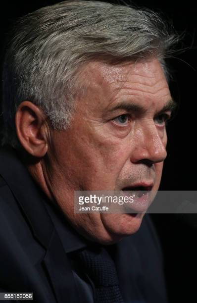Coach of Bayern Munich Carlo Ancelotti answers to the media following the UEFA Champions League group B match between Paris SaintGermain and Bayern...