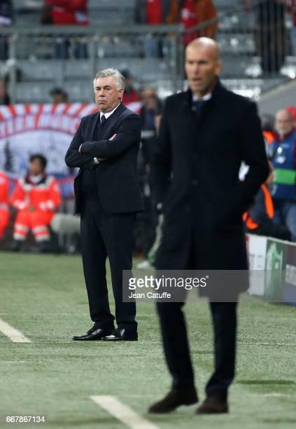 Coach of Bayern Munich Carlo Ancelotti coach of Real Madrid Zinedine Zidane during the UEFA Champions League Quarter Final first leg match between FC...