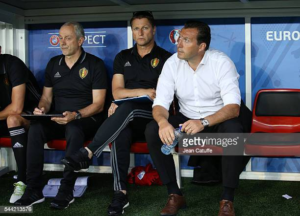 Coach of Belgium Marc Wilmots and his staff look on prior to the UEFA Euro 2016 quarter final match between Wales and Belgium at Stade PierreMauroy...