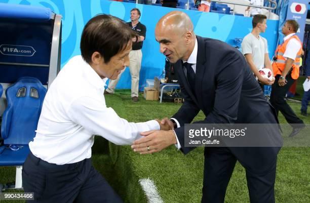 Coach of Belgium Roberto Martinez comes to greet coach of Japan Akira Nishino before the 2018 FIFA World Cup Russia Round of 16 match between Belgium...
