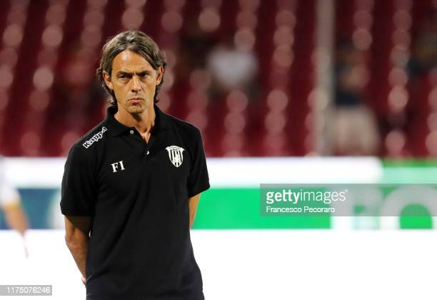 Coach of Benevento Calcio Filippo Inzaghi during the Serie B match between Salernitana and Benevento Calcio at Stadio Arechi on September 16, 2019 in...