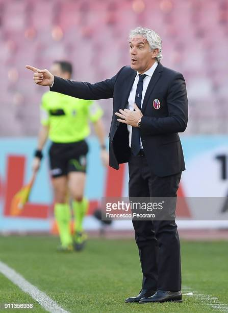 Coach of Bologna FC Roberto Donadoni gestures during the serie A match between SSC Napoli and Bologna FC at Stadio San Paolo on January 28 2018 in...