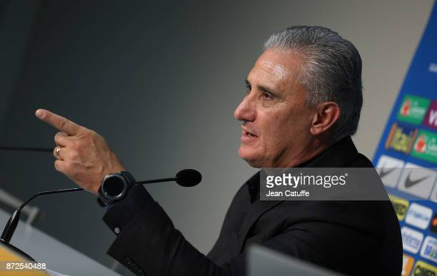Coach of Brazil Adenor Leonardo Bacchi aka Tite answers to the media during a press conference following the international friendly match between...
