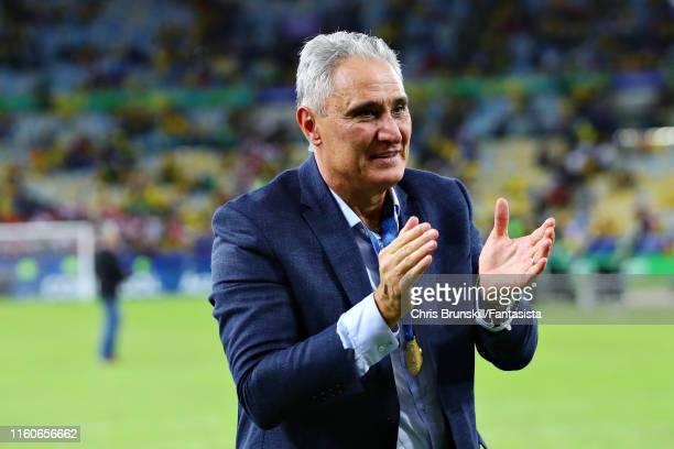 Coach of Brazil Tite applauds the crowd after the Copa America Brazil 2019 Final match between Brazil and Peru at Maracana Stadium on July 07, 2019...