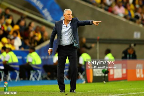 Coach of Brazil Tite gestures from the sidelines during the Copa America Brazil 2019 Final match between Brazil and Peru at Maracana Stadium on July...