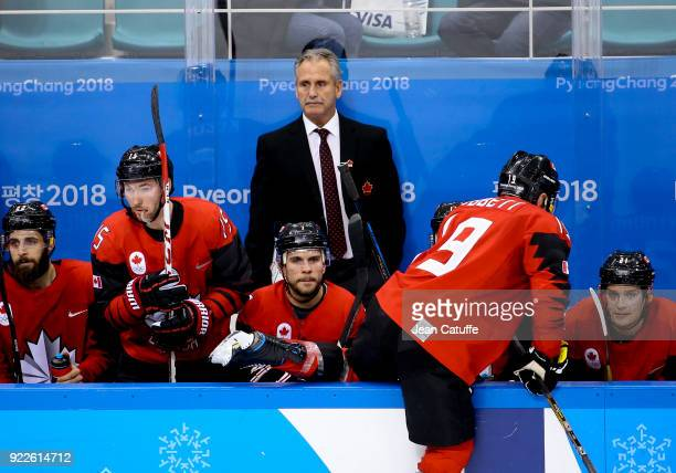 Coach of Canada Willie Desjardins during the Men's Ice Hockey Playoffs Quarterfinals between Finland and Canada on day twelve of the PyeongChang 2018...