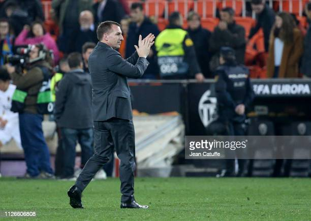 Coach of Celtic Brendan Rodgers following the UEFA Europa League Round of 32 Second Leg match between Valencia FC and Celtic at Estadio Mestalla...