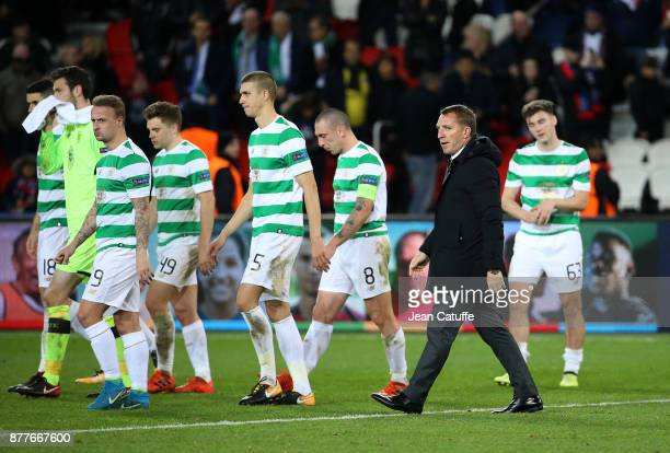 Coach of Celtic Glasgow Brendan Rodgers among his players following the UEFA Champions League group B match between Paris SaintGermain and Celtic FC...