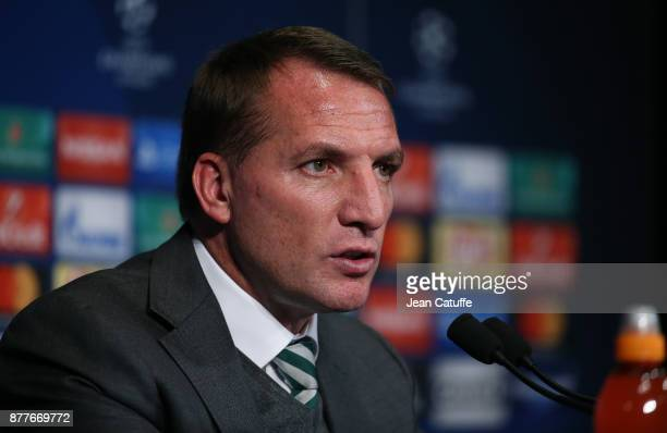 Coach of Celtic Glasgow Brendan Rodgers answers to the media following the UEFA Champions League group B match between Paris SaintGermain and Celtic...