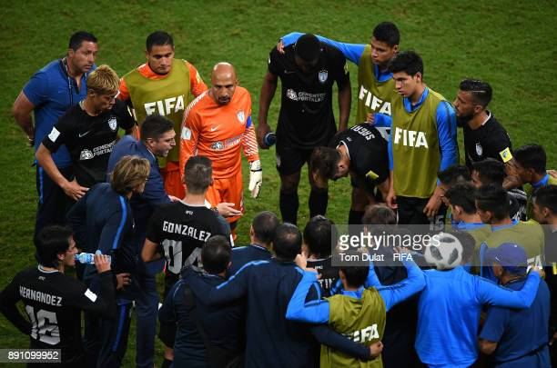 Coach of CF Pachuca Diego Alonso speaks to the players during the FIFA Club World Cup UAE 2017 match between Gremio FBPA and CF Pachuca at Hazza Bin...