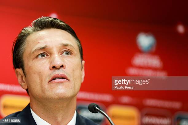 Coach of Croatia team Niko Kova to answers the questions after the match between Azerbaijan and Croatia at Bakcell arena stadium in Baku