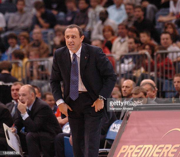 Coach of CSKA Moscow Ettore Messina rallies his troops during the NBA Europe Live Tour presented by EA Sports on October 10 2006 at the Koeln Arena...