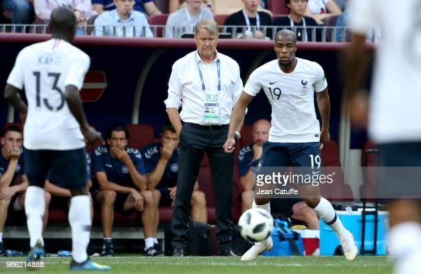 Coach of Denmark Age Hareide Djibril Sidibe of France during the 2018 FIFA World Cup Russia group C match between Denmark and France at Luzhniki...