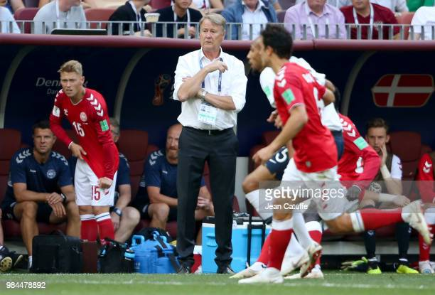 Coach of Denmark Age Hareide during the 2018 FIFA World Cup Russia group C match between Denmark and France at Luzhniki Stadium on June 26 2018 in...