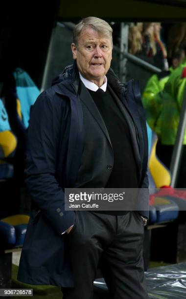 Coach of Denmark Age Hareide during the international friendly match between Denmark and Panama at Brondby Stadion on March 22 2018 in Brondby Denmark