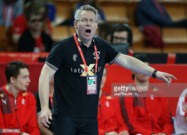Coach of Denmark Gudmundur Gudmundsson gestures during the Men's EHF European Handball Championship 2016 between France and Denmark at Centennial...