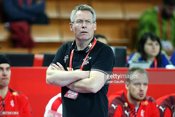 Coach of Denmark Gudmundur Gudmundsson looks on during the Men's EHF European Handball Championship 2016 between France and Denmark at Centennial...