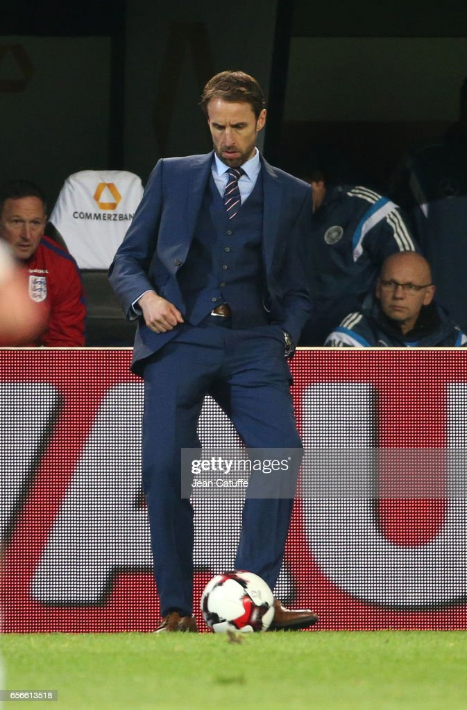 Coach of England Gareth Southgate reacts during the international friendly match between Germany and England at Signal Iduna Park on March 22, 2017 in Dortmund, Germany.