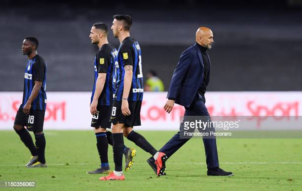 Coach of FC Internazionale Luciano Spalletti stands disappointed after the Serie A match between SSC Napoli and FC Internazionale at Stadio San Paolo...