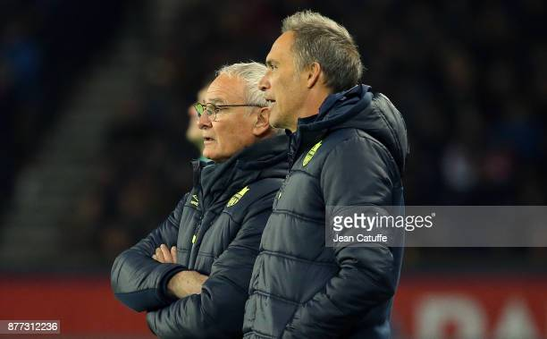 Coach of FC Nantes Claudio Ranieri and his assistant coach Paolo Benetti during the French Ligue 1 match between Paris Saint Germain and FC Nantes at...