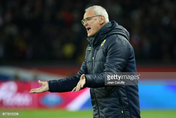 Coach of FC Nantes Claudio Ranieri during the French Ligue 1 match between Paris Saint Germain and FC Nantes at Parc des Princes stadium on November...