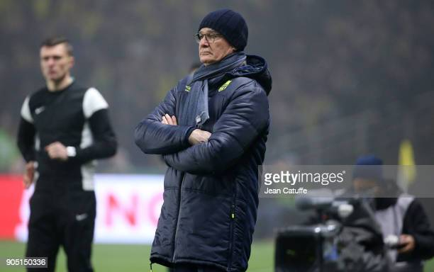 Coach of FC Nantes Claudio Ranieri during the French Ligue 1 match between FC Nantes and Paris Saint Germain at Stade de la Beaujoire on January 14...
