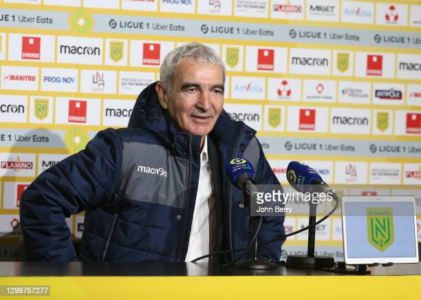 Coach of FC Nantes Raymond Domenech answers to the media during the post-match press conference following the Ligue 1 match between FC Nantes and AS...
