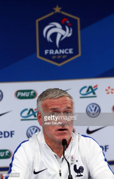 Coach of France Didier Deschamps answers to the media during a press conference on the eve of the international friendly match between France and...