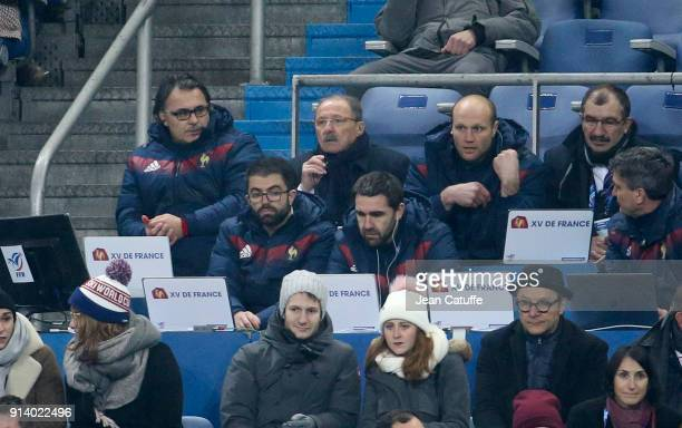Coach of France Jacques Brunel surrounded by his assistant coaches Sebastien Bruno and Julien Bonnaire during the NatWest 6 Nations match between...