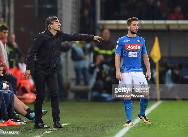 Coach of Genoa CFC Ivan Juric and SSC Napoli player Dries Mertens during the Serie A match between Genoa CFC and SSC Napoli at Stadio Luigi Ferraris...