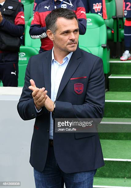 Coach of Girondins de Bordeaux Willy Sagnol reacts during the French Ligue 1 match between AS SaintEtienne and FC Girondins de Bordeaux at Stade...