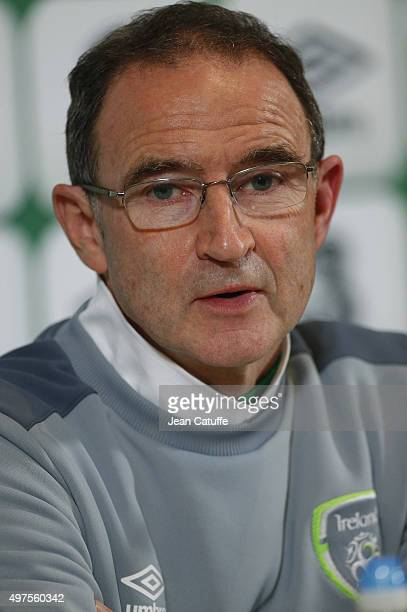 Coach of Ireland Martin O'Neill answers to media during press conference following the UEFA EURO 2016 qualifier playoff second leg match between...