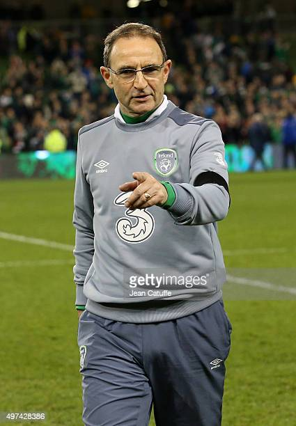 Coach of Ireland Martin O'Neill celebrates the victory and qualification of Ireland for EURO 2016 at the end of the UEFA EURO 2016 qualifier playoff...