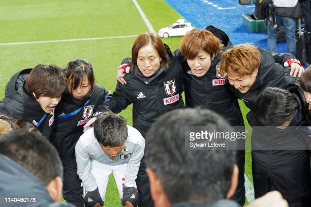 Coach of Japan Asako Takakura during women friendly soccer match France vs Japan at Stade de L'AbbeDeschamps on April 04 2019 in Auxerre France