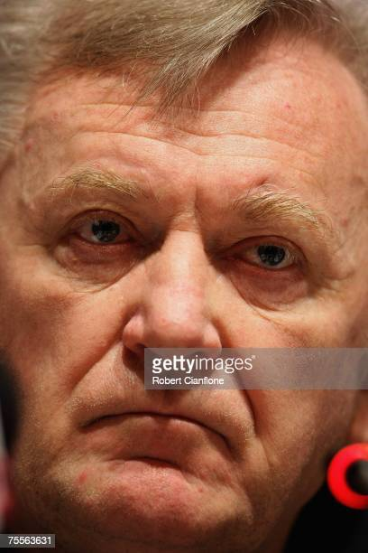 Coach of Japan Ivica Osim takes questions from the media during the Japan Asian Cup team press conference at the Sheraton Hotel on July 20 2007 in...