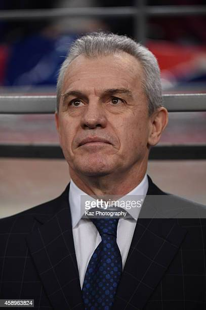 Coach of Japan Javier Aguirre looks on during the international friendly match between Japan and Honduras at Toyota Stadium on November 14 2014 in...