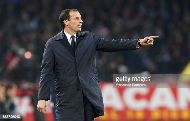 Coach of Juventus Massimiliano Allegri gestures during the Serie A match between SSC Napoli and Juventus at Stadio San Paolo on December 1 2017 in...