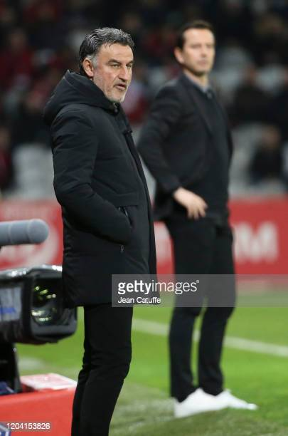 Coach of Lille Christophe Galtier, coach of Stade Rennais Julien Stephan during the Ligue 1 match between Lille OSC and Stade Rennais at Stade Pierre...