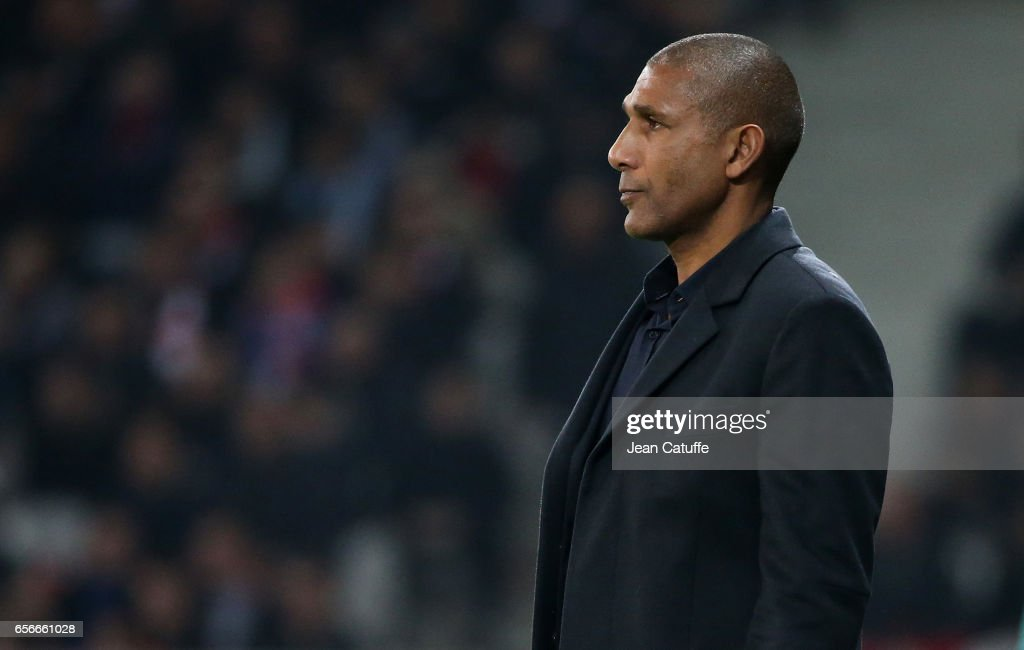 Coach of Lille Franck Passi looks on during the French Ligue 1 match between Lille OSC (LOSC) and Olympique de Marseille (OM) at Stade Pierre-Mauroy on March 17, 2017 in Lille, France.