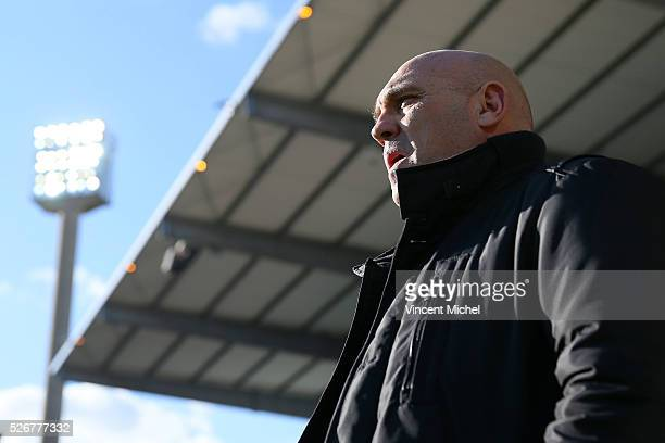 Coach of Lille Frederic Antonetti of Lille during the French Ligue 1 match between Fc Lorient and Lille OSC at Stade du Moustoir on April 30, 2016 in...
