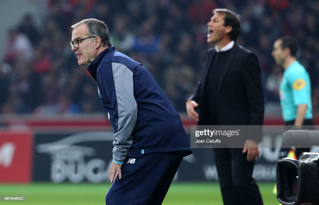 Coach of Lille Marcelo Bielsa, coach of OM Rudi Garcia during the French Ligue 1 match between Lille OSC (LOSC) and Olympique de Marseille (OM) at Stade Pierre Mauroy on October 29, 2017 in Lille, France.
