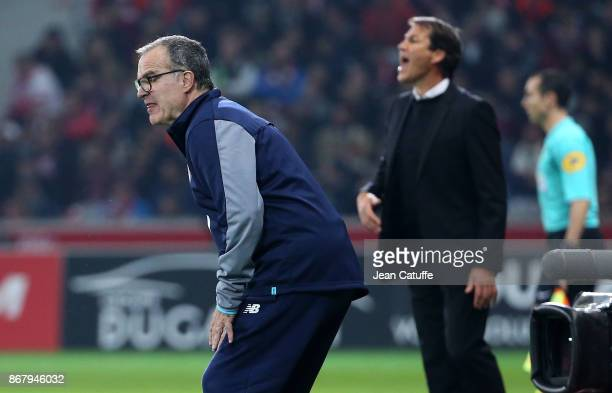 Coach of Lille Marcelo Bielsa coach of OM Rudi Garcia during the French Ligue 1 match between Lille OSC and Olympique de Marseille at Stade Pierre...