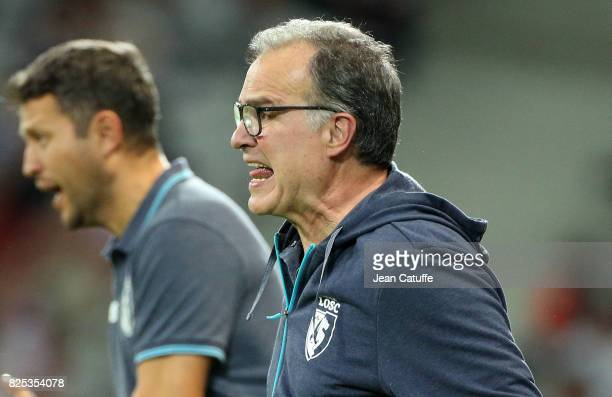 Coach of Lille Marcelo Bielsa during the preseason friendly match between Lille OSC and Stade Rennais FC at Stade Pierre Mauroy on July 29 2017 in...