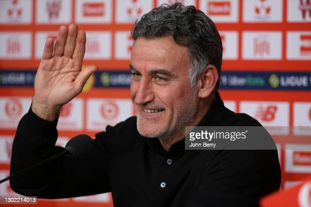 Coach of Lille OSC Christophe Galtier answers to the media during the post-match press conference following the Ligue 1 match between Lille OSC and...