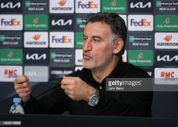 Coach of Lille OSC Christophe Galtier answers to the media during the post-match press conference following the UEFA Europa League Round of 32 match...