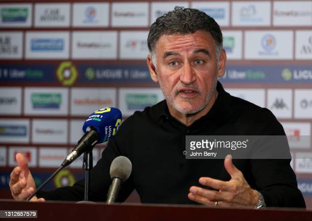 Coach of Lille OSC Christophe Galtier answers to the media during the post-match press conference following the Ligue 1 match between FC Metz and...