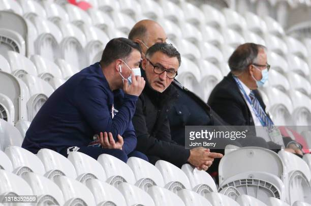 Coach of Lille OSC Christophe Galtier in the stands during the Ligue 1 match between Lille OSC and AS Saint-Etienne at Stade Pierre Mauroy on May 16,...