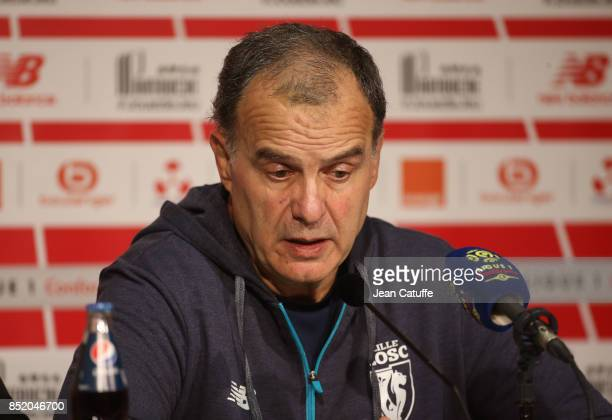 Coach of Lille OSC Marcelo Bielsa answers to the media following the French Ligue 1 match between Lille OSC and AS Monaco at Stade Pierre Mauroy on...
